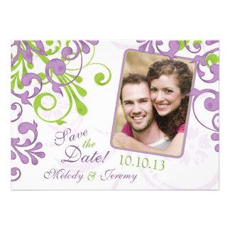 Reserva floral verde púrpura de la foto del boda l