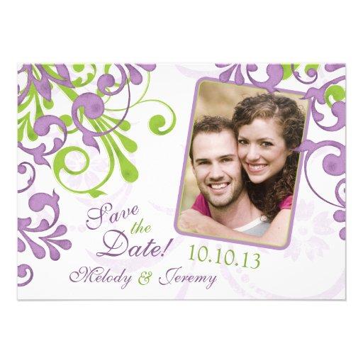 Reserva floral verde púrpura de la foto del boda l comunicados