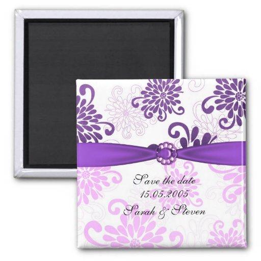 Reserva floral violeta elegante de la cinta del da imán para frigorifico