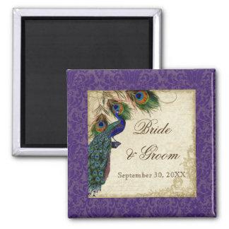 Reserva formal del pavo real y del boda de las plu imanes para frigoríficos
