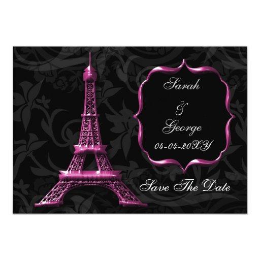 reserva francesa del boda de la torre Eiffel Invitación 12,7 X 17,8 Cm