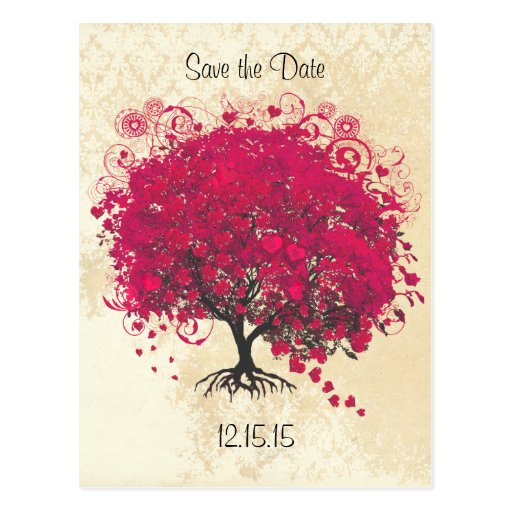 Reserva fucsia del boda del árbol de la hoja del postales