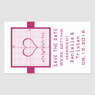 Reserva fucsia del gráfico de la matemáticas del pegatina rectangular