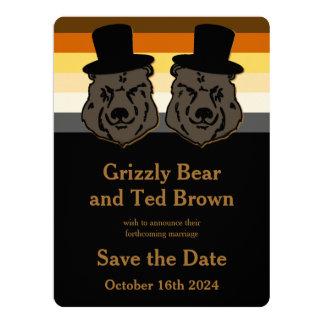 Reserva gay del oso de los novios el oro y el invitación 16,5 x 22,2 cm