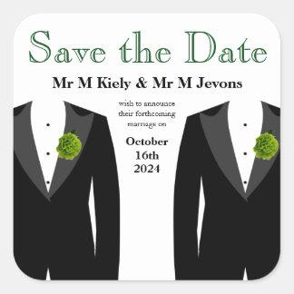 Reserva gay del pegatina del boda del clavel verde