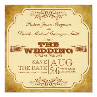 Reserva gay del teatro del boda del vintage la invitación 13,3 cm x 13,3cm
