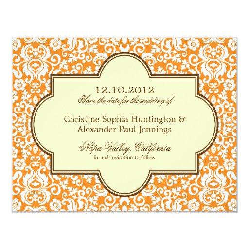 Reserva gloriosa del boda del damasco la tarjeta invitacion personal