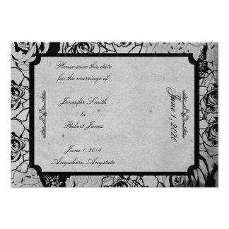Reserva gótica color de rosa negra del boda del ma invitacion personalizada