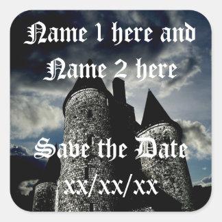 Reserva gótica de la escena del castillo los pegatina cuadradas personalizadas