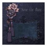 Reserva gótica del boda oscuro la tarjeta de fecha invitación 13,3 cm x 13,3cm