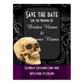 Reserva gótica negra del cráneo la fecha tarjeta postal