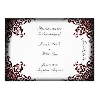 Reserva gótica negra y roja del boda de la voluta  comunicado