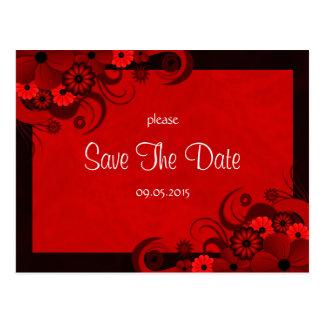 Reserva gótica rojo oscuro floral las invitaciones postales