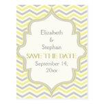 Reserva gris amarilla del boda del zigzag del galó tarjetas postales