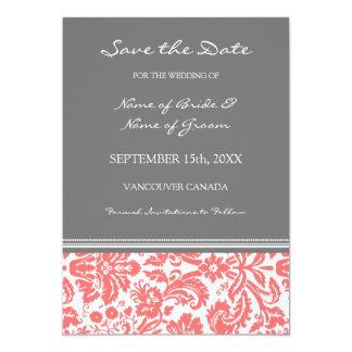 Reserva gris coralina del boda de la foto la invitaciones personalizada