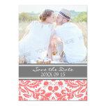 Reserva gris coralina del boda de la foto la invitación 12,7 x 17,8 cm