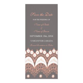 Reserva gris coralina del boda la tarjeta de fecha invitación 10,1 x 23,5 cm