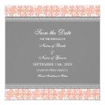 Reserva gris coralina del boda la tarjeta de fecha anuncio personalizado