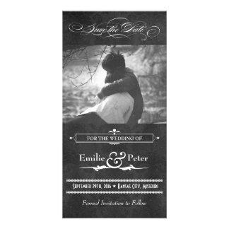 Reserva gris de la foto del damasco del vintage la tarjeta con foto personalizada