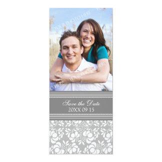 Reserva gris del boda de la foto del damasco la invitación 10,1 x 23,5 cm