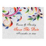 Reserva gris del boda de la hoja colorida de la tarjeta postal