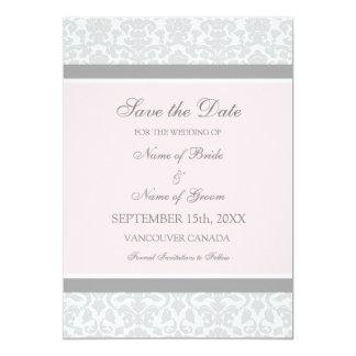 Reserva gris rosada del boda la tarjeta de fecha invitación 12,7 x 17,8 cm