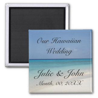 Reserva hawaiana del boda la fecha imán cuadrado