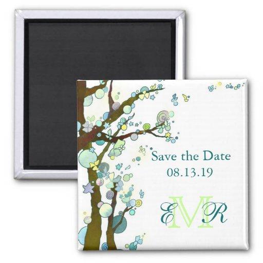 Reserva hermosa del boda del monograma de los árbo imán cuadrado