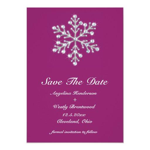 Reserva hivernal de la magenta la fecha invitación 12,7 x 17,8 cm