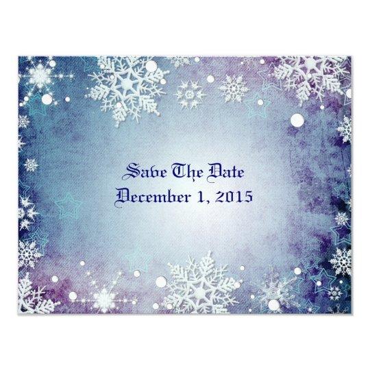 """Reserva hivernal del azul las tarjetas de fecha invitación 4.25"""" x 5.5"""""""
