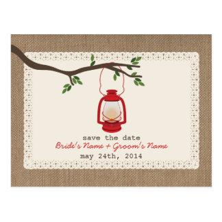 Reserva inspirada arpillera del boda de la lintern tarjetas postales