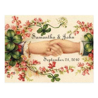 Reserva irlandesa del boda la fecha postal