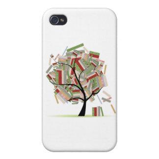 Reserva la biblioteca en las ramas de árbol para s iPhone 4 carcasa