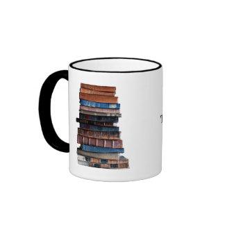 Reserva la Humor-Pila de libros con cita Taza De Dos Colores