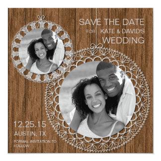 Reserva lamentable rústica de la foto del boda del comunicados personales