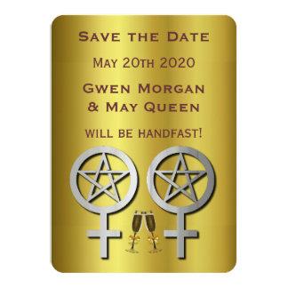 """Reserva lesbiana de Wiccan Handfasting la tarjeta Invitación 4.5"""" X 6.25"""""""
