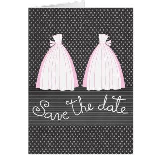 Reserva lesbiana del boda las tarjetas de fecha