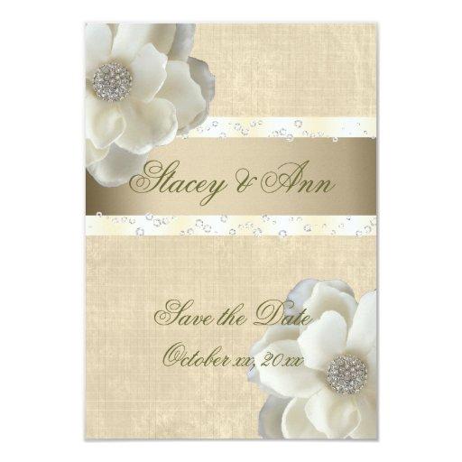 Reserva lesbiana del boda los rosas blancos de la invitación 8,9 x 12,7 cm