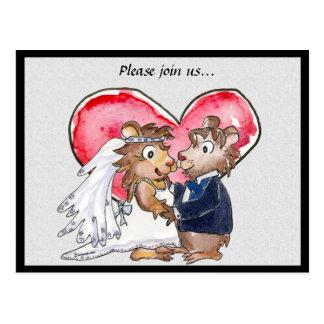Reserva linda del boda del corazón rojo las postales