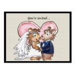 Reserva linda del boda del corazón rosado las tarj postal