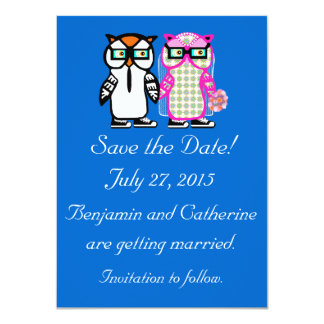 Reserva linda del búho de la novia y del novio del invitación 11,4 x 15,8 cm