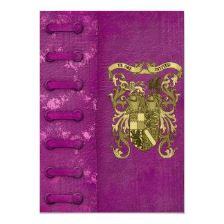 """Reserva medieval de la cubierta de libro la fecha invitación 5"""" x 7"""""""