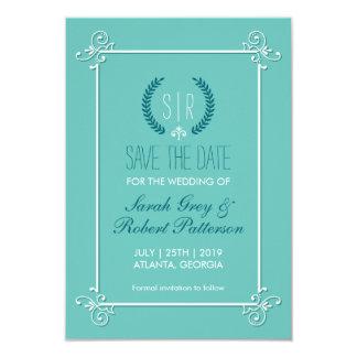 """Reserva medieval del boda de las azules turquesas invitación 3.5"""" x 5"""""""