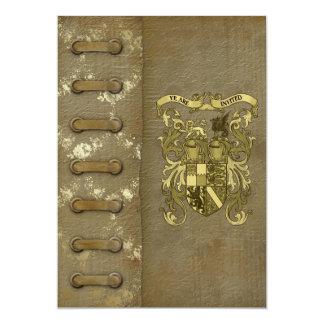 """Reserva medieval del papel pintado la fecha invitación 5"""" x 7"""""""
