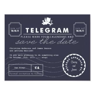 Reserva moderna de la tarjeta del telegrama la invitación 10,8 x 13,9 cm