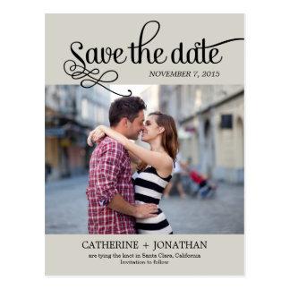 Reserva moderna del boda de la caligrafía la fecha tarjetas postales