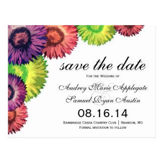 Reserva moderna del boda de las flores descaradas  postal