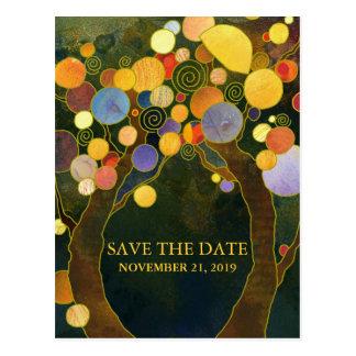 Reserva moderna del boda de los árboles de amor la postales