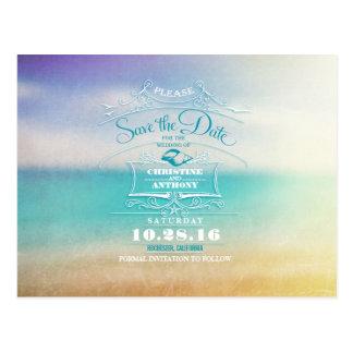 Reserva moderna del boda de playa las postales de