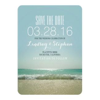 Reserva moderna del boda de playa las tarjetas de invitación personalizada